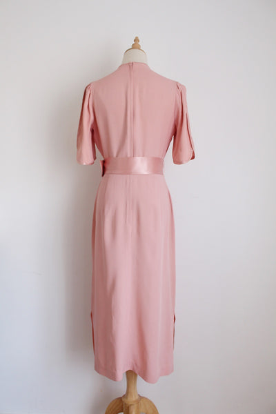 VINTAGE PINK SHEER NECK BELTED COCKTAIL DRESS - SIZE 8