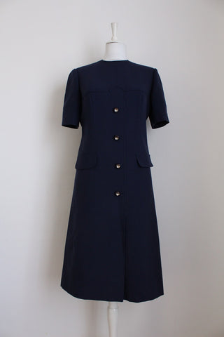 VINTAGE SYLVIA MILLS LONDON NAVY WOOL DRESS - SIZE 12