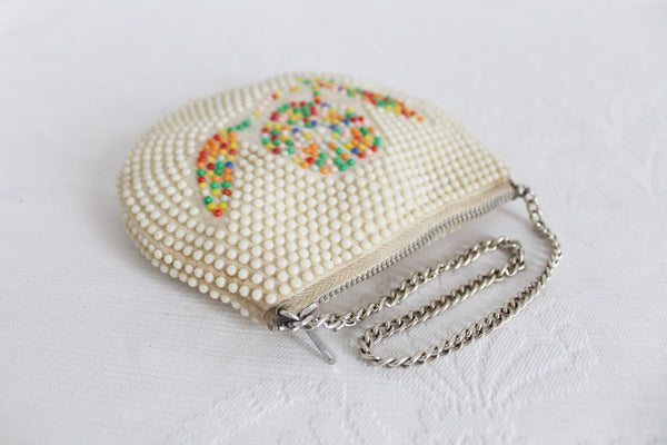 VINTAGE BEADED CREAM EVENING BAG PURSE