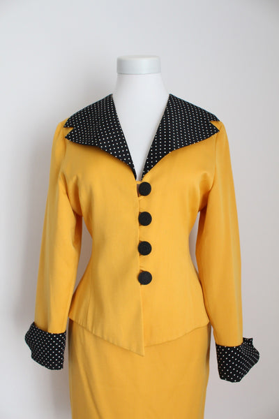 VINTAGE YELLOW TWO PIECE SKIRT SUIT - SIZE 6