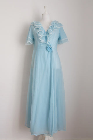 VINTAGE BLUE RUFFLE WRAP NIGHT GOWN - SIZE S