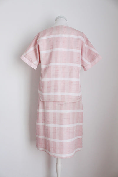 VINTAGE PINK CHECK TWO PIECE SKIRT SUIT - SIZE 4