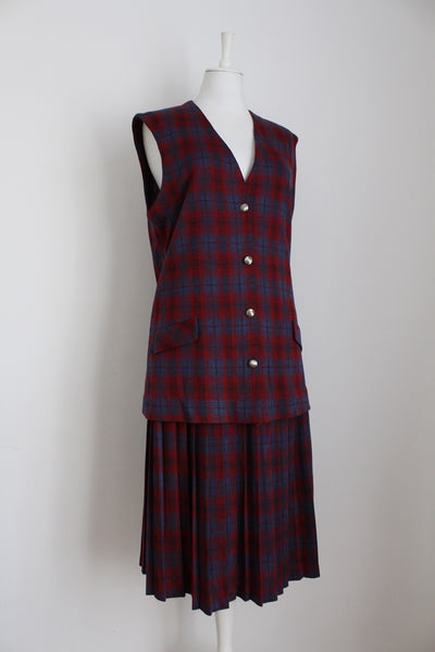 VINTAGE TARTAN PLAID CHECK RED TWO PIECE - SIZE 18