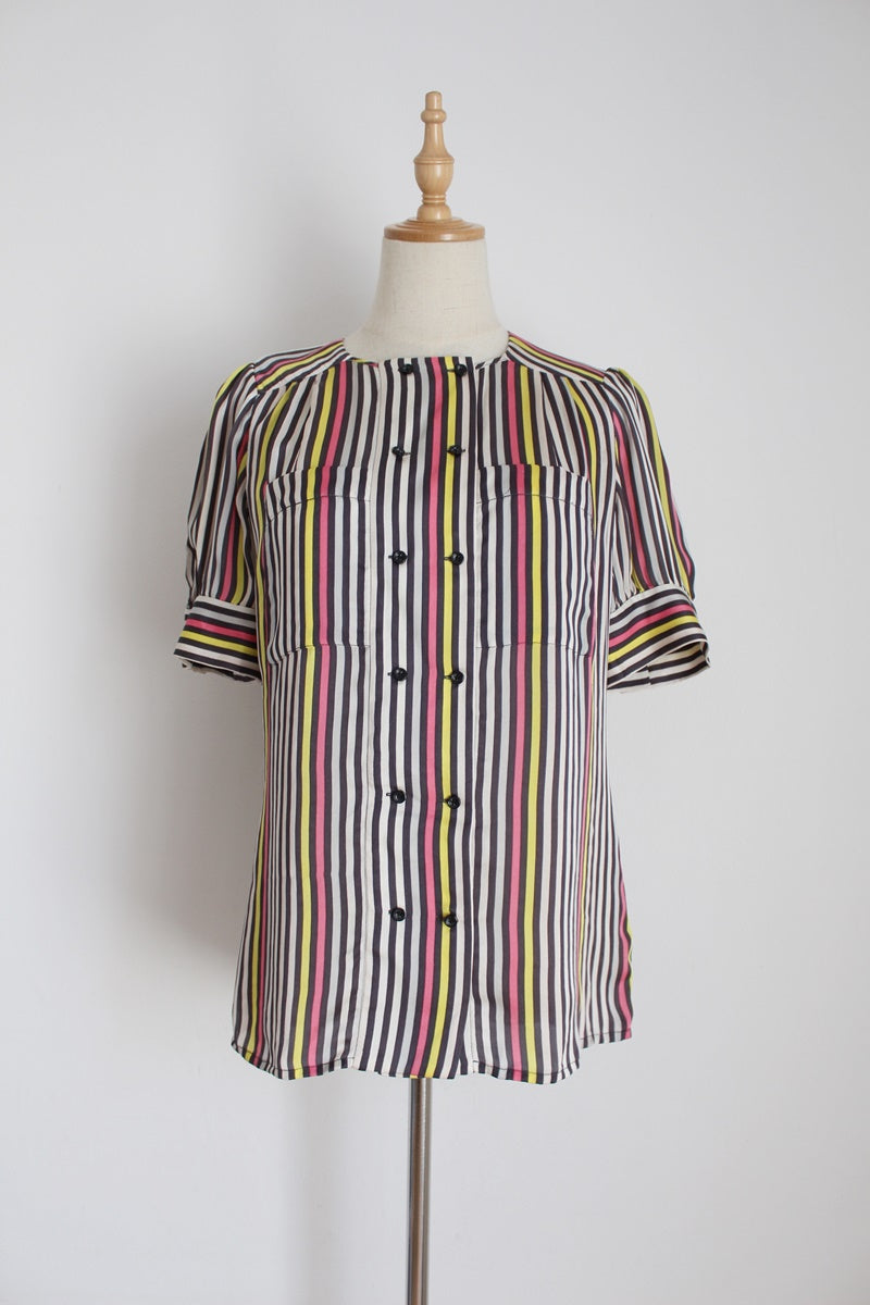 REISS DESIGNER SILK STRIPE BLOUSE - SIZE 10