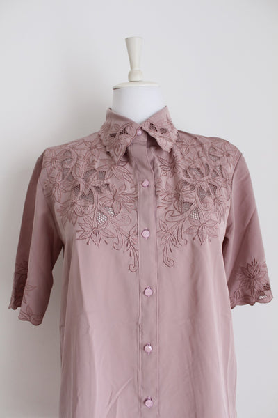 VINTAGE THAI EMBROIDERED BLOUSE - SIZE 10