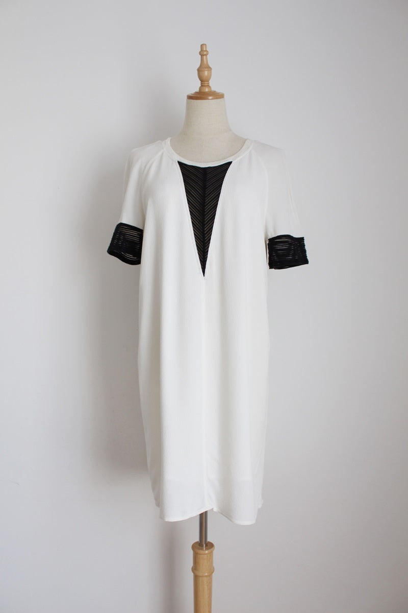 SANDRO PARIS WHITE INSERT DRESS - SIZE 8