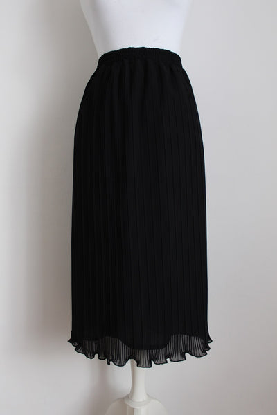 VINTAGE BLACK PLEATED MIDI SKIRT - SIZE L