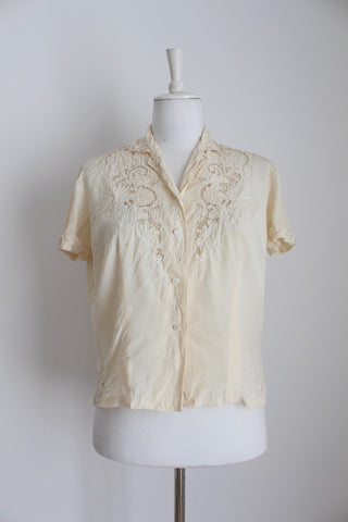 VINTAGE 100% SILK CHINESE EMBROIDERY BLOUSE - SIZE 12