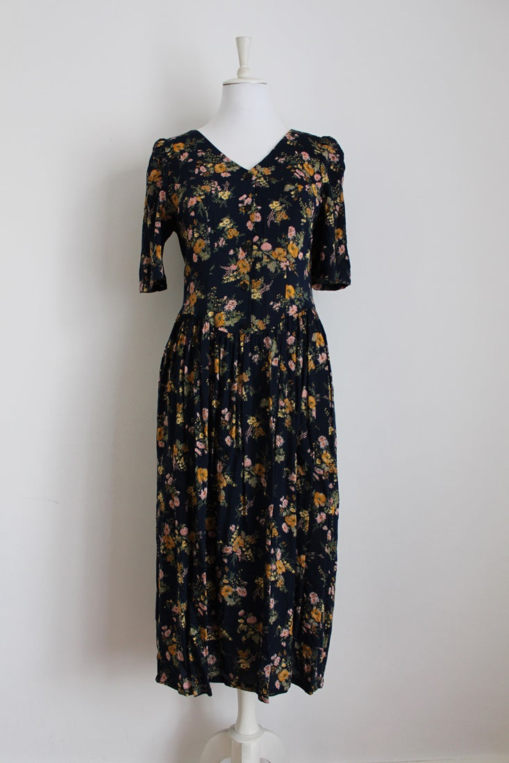 VINTAGE NAVY FLORAL PRINT DAY DRESS - SIZE 12