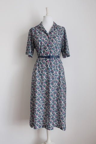 VINTAGE FLORAL BLUE WHITE PRINT DAY DRESS - SIZE 16