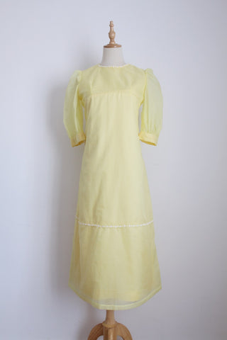 VINTAGE YELLOW DAISY TRIM FORMAL DRESS - SIZE 8