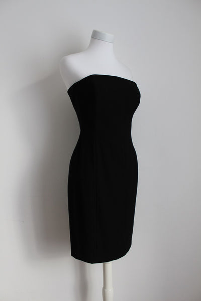 *ESCADA* DESIGNER VINTAGE BLACK STRAPLESS COCKTAIL DRESS - SIZE 8