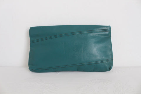 VINTAGE TEAL BLUE GENUINE LEATHER CLUTCH BAG