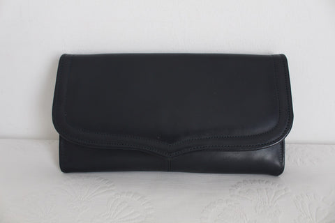 VINTAGE GENUINE LEATHER NAVY BLUE CLUTCH BAG
