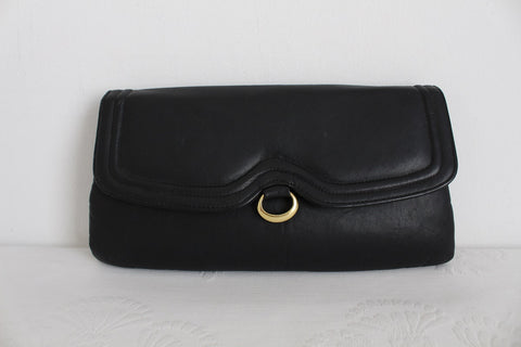 VINTAGE GENUINE LEATHER BLACK MESSENGER CLUTCH BAG