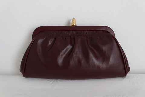 VINTAGE MAROON RED RUCHED CLUTCH BAG