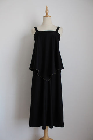 VINTAGE BLACK TIERED SCARF TOP DRESS - SIZE 8