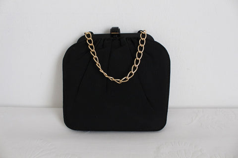 VINTAGE SMALL BLACK CHAIN EVENING BAG