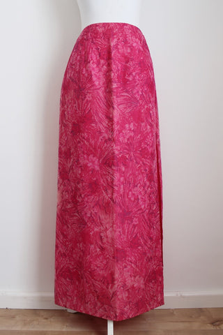 VINTAGE HOT PINK PRINTED MAXI SLIT SKIRT - SIZE 10