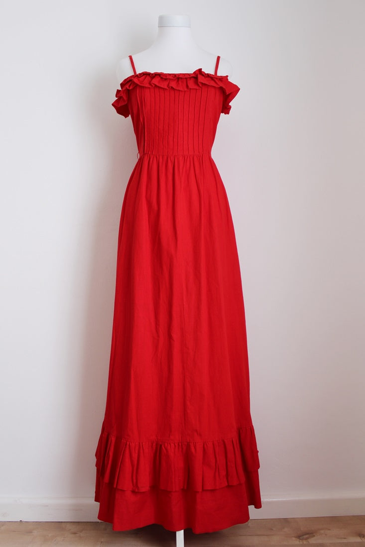 VINTAGE RED PLEATED RUFFLE DAY DRESS - SIZE 10