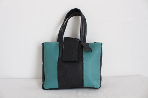 GENUINE LEATHER NAVY TEAL SMALL TOTE BAG