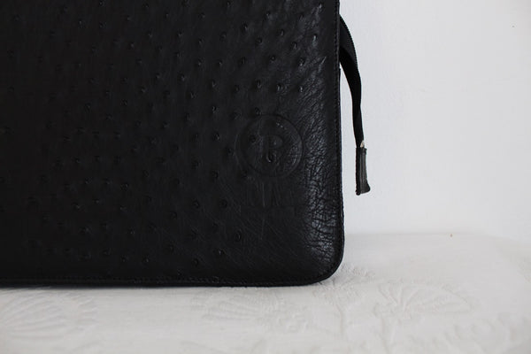 AS NEW GENUINE OSTRICH SKIN BLACK LAPTOP SLEEVE
