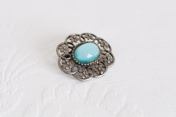 VINTAGE BLUE FLOWER SILVER TONE BROOCH PIN