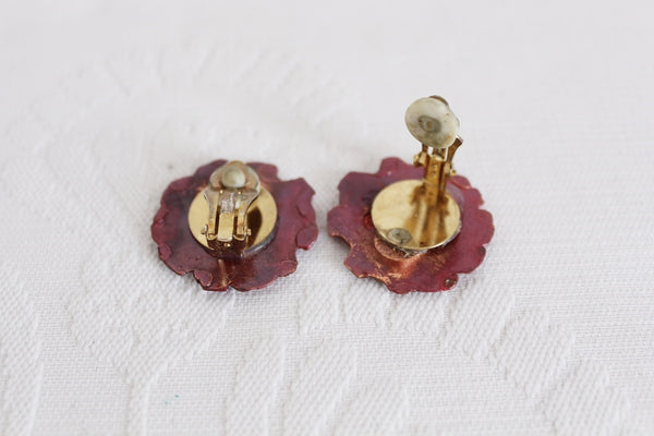 VINTAGE BRASS HAND MADE CLIP-ON EARRINGS