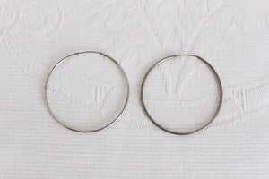 VINTAGE SILVER PLATED THIN HOOP EARRINGS