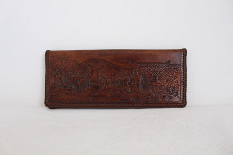 VINTAGE TOOLED GENUINE LEATHER CHEQUEBOOK HOLDER