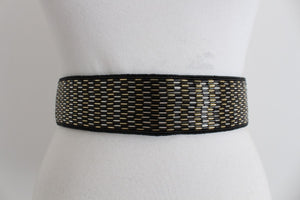 VINTAGE BEADED SATIN TIE BELT