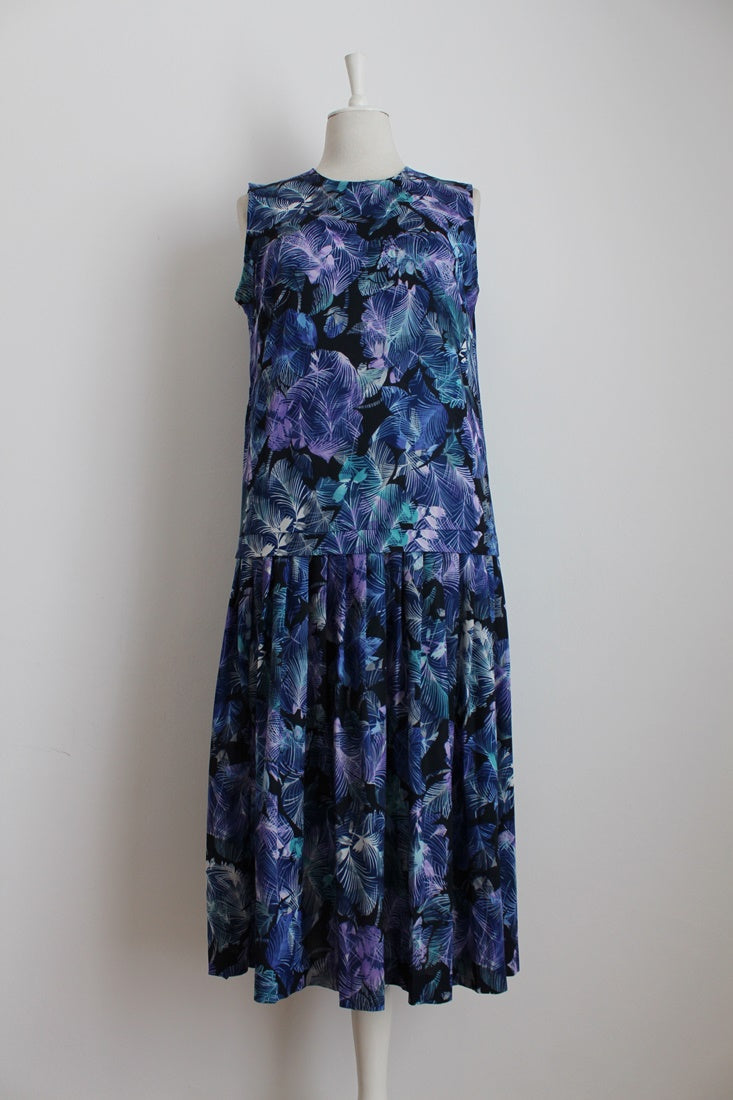 VINTAGE BLUE PURPLE LEAF PRINT DROP WAIST PLEATED DAY DRESS - SIZE 12