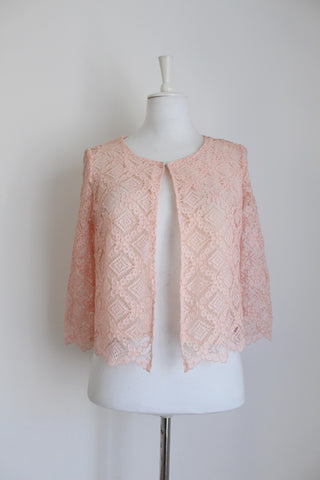 VINTAGE PINK LACE 3/4 SLEEVE JACKET TOP - SIZE 10