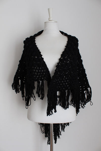 VINTAGE BLACK CROCHET KNIT SHAWL