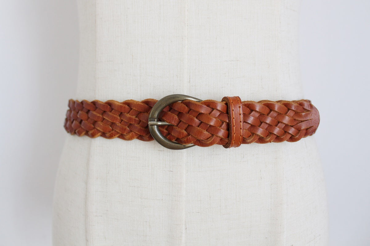 VINTAGE GENUINE LEATHER COGNAC WOVEN BELT