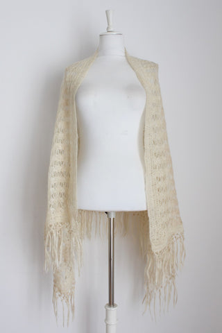 VINTAGE MOHAIR CROCHET KNIT SHAWL