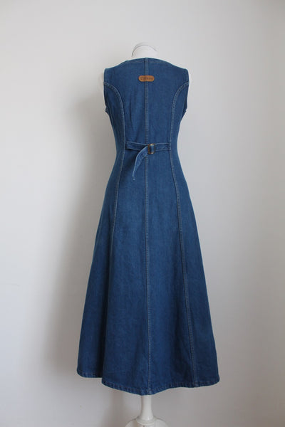 VINTAGE DENIM BLUE BUTTON DOWN DRESS - SIZE 10