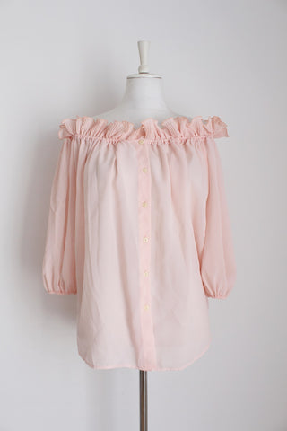 VINTAGE PINK RUFFLE OFF THE SHOULDER BLOUSE - SIZE 16