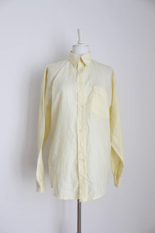 MENS 100% LINEN YELLOW LONG SLEEVE SHIRT - SIZE L