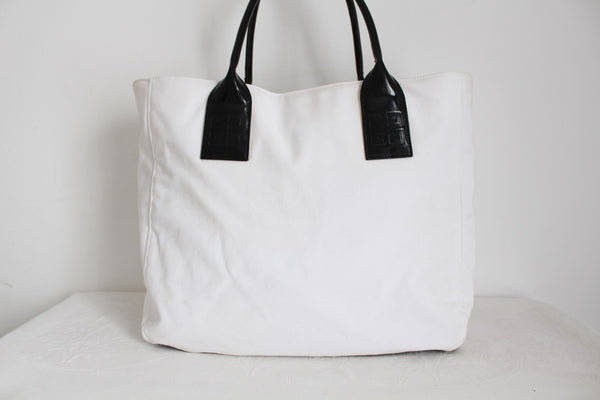 GIVENCHY PARFUMS DESIGNER WHITE CANVAS TOTE
