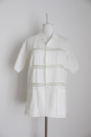 MENS VINTAGE CROCHET SHEER SHIRT - SIZE M