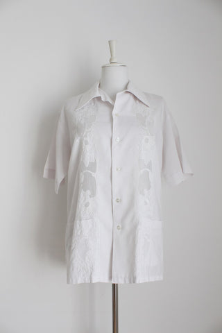 MENS VINTAGE CHINESE EMBROIDERY WHITE SHIRT - SIZE XL