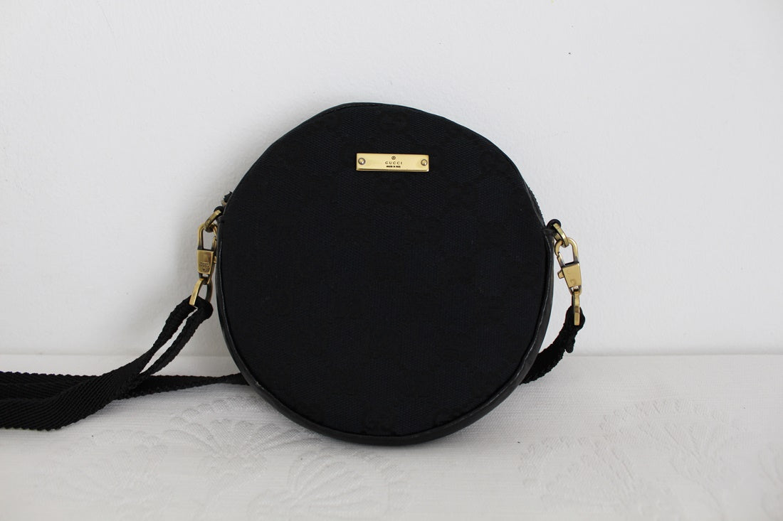 *GUCCI* DESIGNER VINTAGE BLACK CANVAS MINI SLING BAG