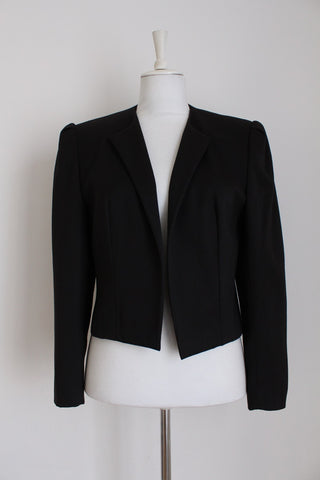 VINTAGE BLACK CROPPED BLAZER JACKET - SIZE 12