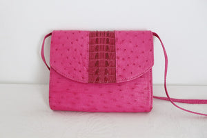 *GENUINE OSTRICH & CROCODILE SKIN* PINK MINI SLING BAG