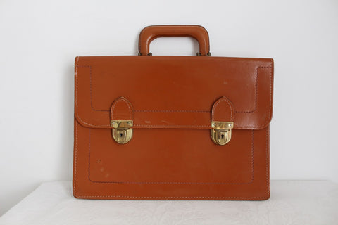 VINTAGE GENUINE LEATHER TAN BRIEFCASE BAG