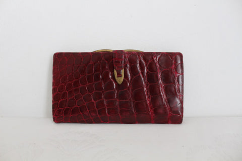 VINTAGE GENUINE CROCODILE SKIN RED WALLET PURSE