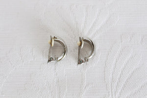 VINTAGE SILVER TONE SEMI HOOP CLIP-ON EARRINGS