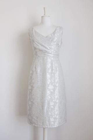HIP HOP SILVER BROCADE FLORAL COCKTAIL DRESS - SIZE 8