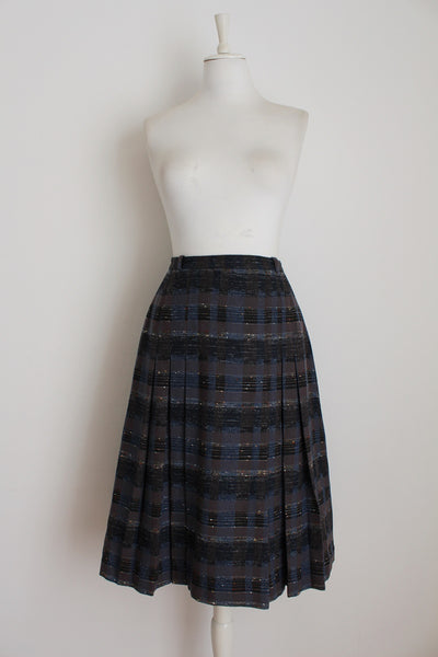 VINTAGE PLAID CHECK GREY WOOL PLEATED SKIRT - SIZE 10